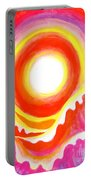 Neon Red Sky And Sea Portable Battery Charger