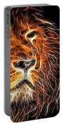 Neon Strong Proud Lion On Black Portable Battery Charger