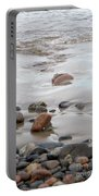 New England Beach With Rocks And Waves Portable Battery Charger