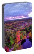 New Hampshire Fall Sunset Over Pond Portable Battery Charger
