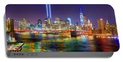 New York City Brooklyn Bridge Tribute In Lights Freedom Tower World Trade Center Wtc Manhattan Nyc Portable Battery Charger