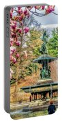 New York City Central Park Bethesda Fountain Blossoms Portable Battery Charger