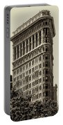 New York City - Flatiron In Sepia Portable Battery Charger