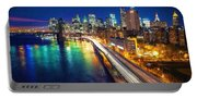New York City Lights Blue Portable Battery Charger