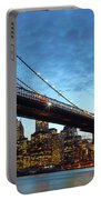 New York City Skyline By Night Portable Battery Charger