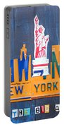New York City Skyline License Plate Art Portable Battery Charger by Design Turnpike