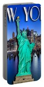 New York Classic Skyline With Statue Of Liberty Portable Battery Charger