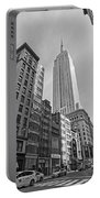 New York Fifth Avenue Taxis Empire State Building Black And White Portable Battery Charger
