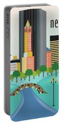 New York Horizontal Skyline - Central Park Portable Battery Charger