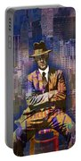 New York Man Seated City Background 1 Portable Battery Charger