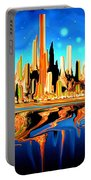 New York Skyline Blue Orange - Modern Art Portable Battery Charger