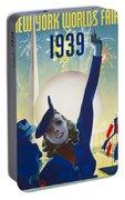 New York, World Fair, Firework, Woman In Blue Dress Portable Battery Charger