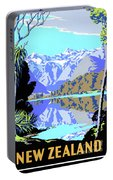 New Zealand Lake Matheson Vintage Travel Poster Portable Battery Charger