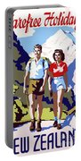 New Zealand Vintage Travel Poster Restored Portable Battery Charger