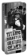 Newsboy Ned Parfett Announcing The Sinking Of The Titanic Portable Battery Charger by English School