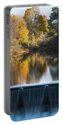 Newton Upper Falls Autumn Waterfall Reflection Portable Battery Charger
