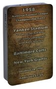 Nfl Championship Game 1958 Portable Battery Charger