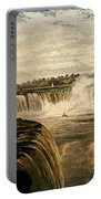 Niagara Falls With Rainbow, 1860 Portable Battery Charger