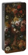 Nicolaes Van Veerendael Antwerp 1640 - 1691 Still Life Of Roses, Carnations And Other Flowers Portable Battery Charger