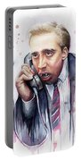 Nicolas Cage A Vampire's Kiss Watercolor Art Portable Battery Charger by Olga Shvartsur