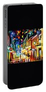 Night Etude - Palette Knife Oil Painting On Canvas By Leonid Afremov Portable Battery Charger