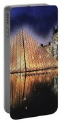 Night Glow Of The Louvre Museum In Paris  Text Louvre Portable Battery Charger