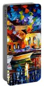 Night Riverfront - Palette Knife Oil Painting On Canvas By Leonid Afremov Portable Battery Charger