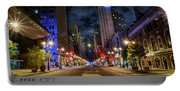 Night Shot Of Broad Street - Philadelphia Portable Battery Charger