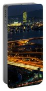 Night Traffic Over Han River In Seoul Portable Battery Charger