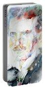Nikola Tesla - Watercolor Portrait.3 Portable Battery Charger