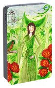 Nine Of Pentacles Illustrated Portable Battery Charger