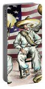 No Mexican Wall, Mister Trump - Political Cartoon Portable Battery Charger