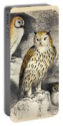 Nocturnal Scene With Three Owls Portable Battery Charger