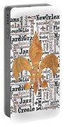 Nola Typography Fleur De Lis Portable Battery Charger