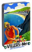 Normandy, French Riviera, Blond Woman With Flowers Portable Battery Charger