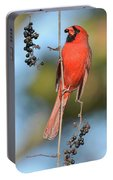 Northern Cardinal With Berry Portable Battery Charger