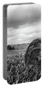 Nostalgia - Hay Bales In Field In Black And White Portable Battery Charger