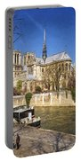 Notre Dame And The Seine Painterly Portable Battery Charger