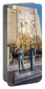 Notre Dame Library And Statue Portable Battery Charger