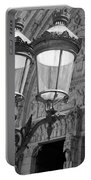 Notre Dame Street Lights Paris France Black And White Portable Battery Charger