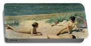 Nude Bathers On The Beach Portable Battery Charger