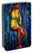 Nude Female Figure Portrait Artwork Painting In Blue Vibrant Rainbow Colors And Styles Warm Style Undersea Adventure In Blue Mythology Siren Women And Not Sensual Portable Battery Charger