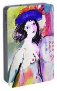 Nude With Flower Hat Portable Battery Charger