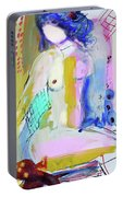 Nude With Yellow Stripe Portable Battery Charger