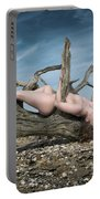 Nude Woman Entwined In Fallen Tree Portable Battery Charger