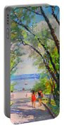Nyack Park A Beautiful Day For A Walk Portable Battery Charger by Ylli Haruni