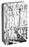 Nyc Brooklyn Bridge Typography No2 Portable Battery Charger by Melanie Viola