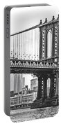 Nyc Manhattan Bridge In Black And White Portable Battery Charger
