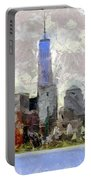 Nyc Skyline Digital Painting  Portable Battery Charger
