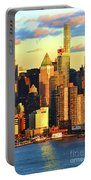 Nyc West Side In Gold And Blue  Portable Battery Charger